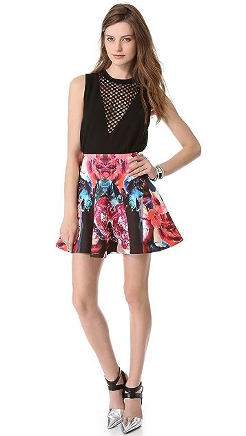 Nicholas Melted Floral Scuba Godet Skirt