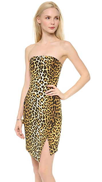 Nicholas Leopard Strapless Dress