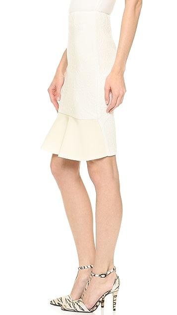 Nicholas Ornate Ponte Pencil Skirt