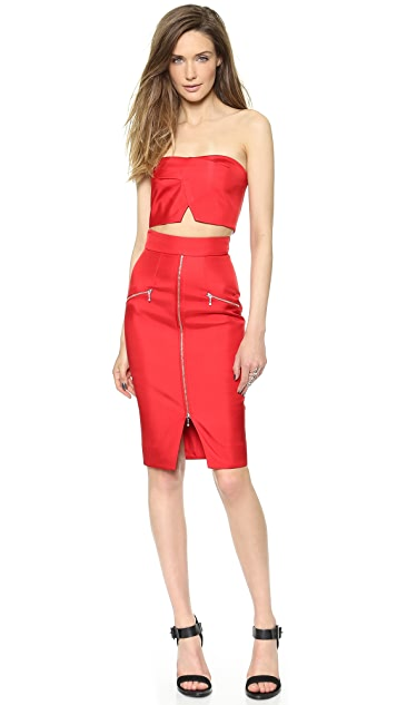Nicholas Bonded Silk Zip Pencil Skirt