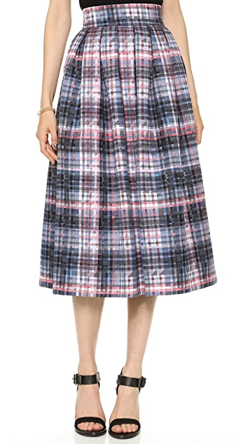 Nicholas Digital Check Silk Pleat Skirt