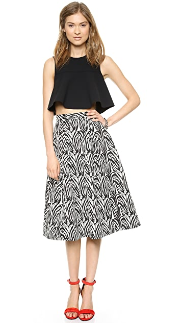 Nicholas Crepe Flared Crop Top