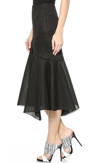 Nicholas Mesh Paneled Flare Hem Skirt