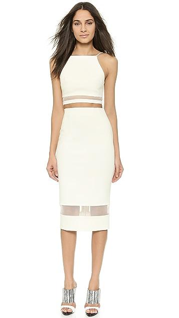 Nicholas Bandage Knit & Mesh Skirt