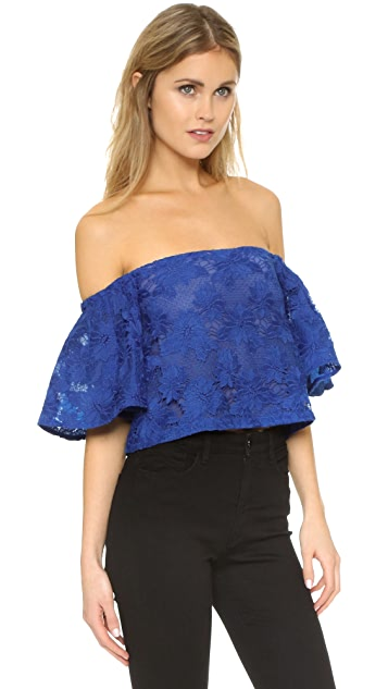 Nicholas Floral Lace Tiered Sleeve Top