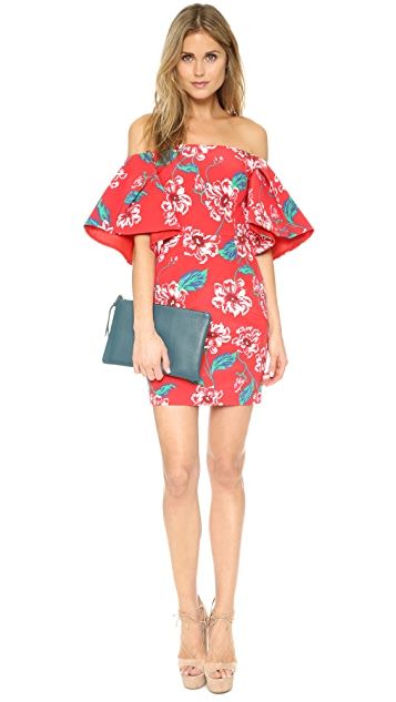 Nicholas Print Floral Tuck Sleeve Dress