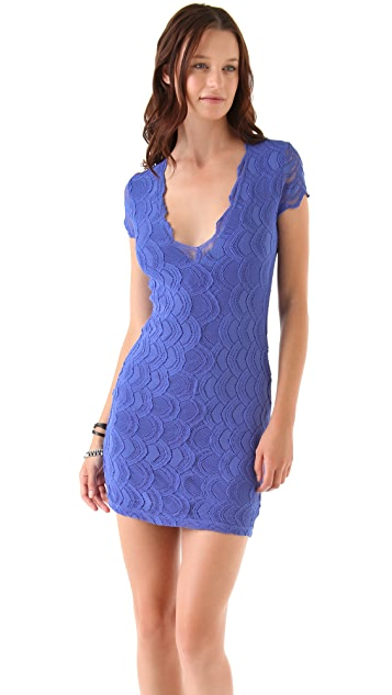 Nightcap x Carisa Rene Deep V Cap Sleeve Dress