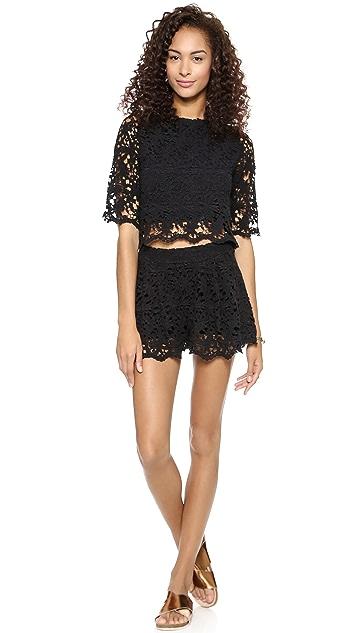 Nightcap x Carisa Rene Daisy Crochet Flare Shorts