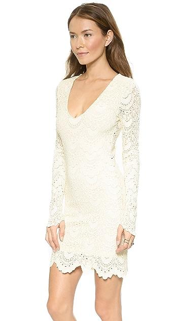 Nightcap x Carisa Rene Spanish Lace Long Sleeve Deep V Dress