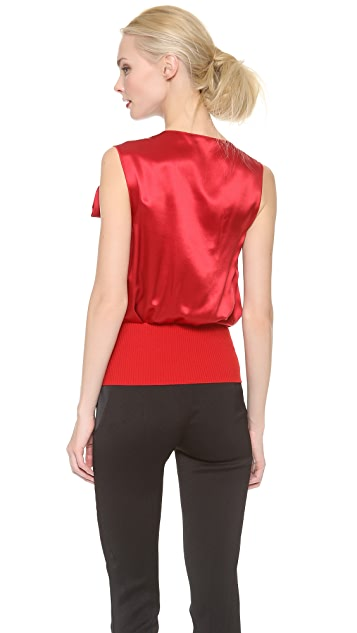 Nina Ricci Satin Draped Top with Shoulder Bow
