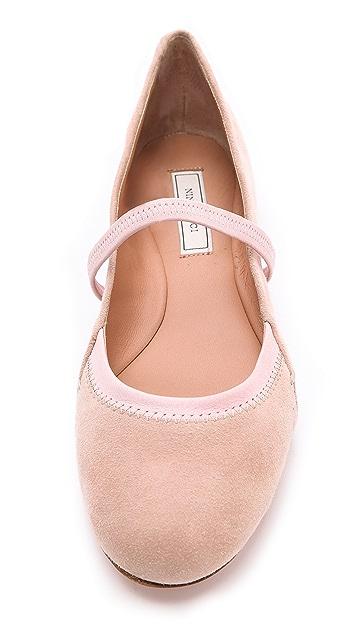 Nina Ricci Suede Ballet Strap Flats