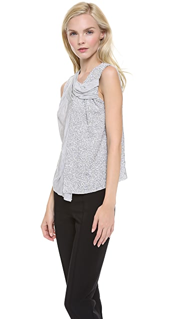Nina Ricci Mixed Draped Sleeveless Top