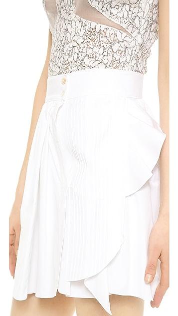 Nina Ricci Pleated Poplin Miniskirt