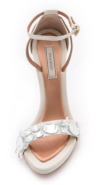 Nina Ricci White Wedged Sandals