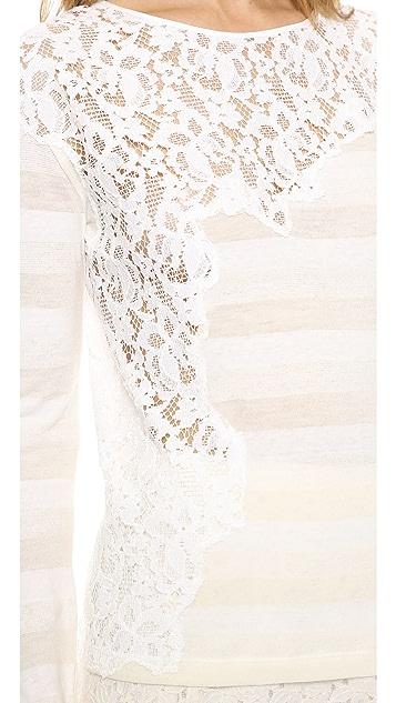 Nina Ricci Sheer Lace Inset Pullover