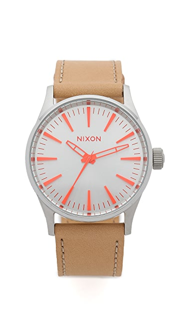 leather brass medium sentry nixon uk from watches navy iconsume watch hickory