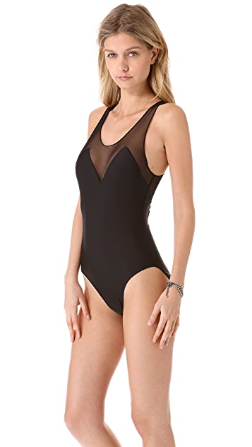 Norma Kamali Mesh Deep V One Piece Swimsuit