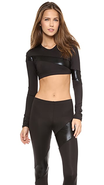 Norma Kamali Spliced Long Sleeve Midriff Top