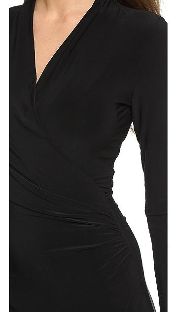 Norma Kamali Long Sleeve Side Draped Dress