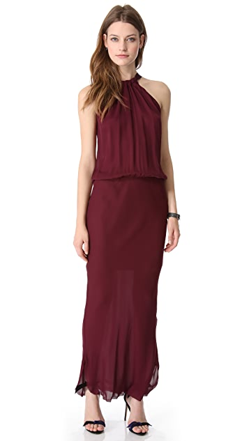 Nili Lotan Ribbon Tie Halter Maxi Dress