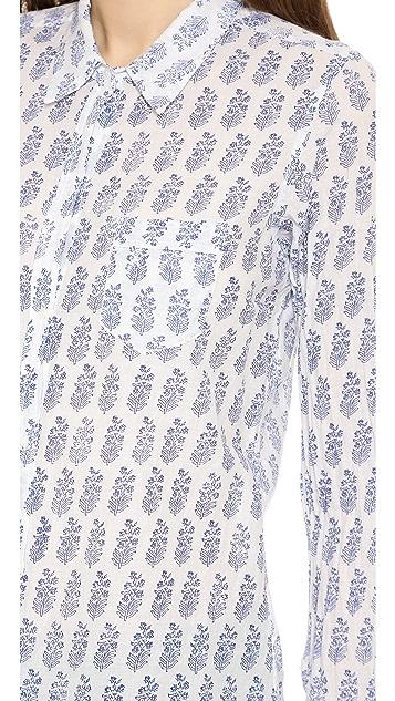 Nili Lotan Floral Woodblock Shirt with Pocket