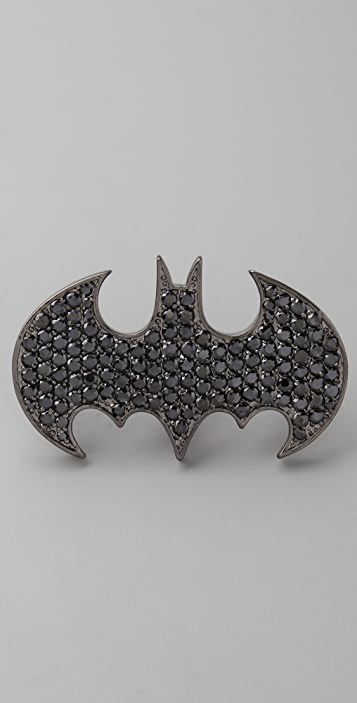 Noir Jewelry Bat Two Finger Crystal Ring