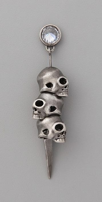 Noir Jewelry 3 Skull Pirate Earrings