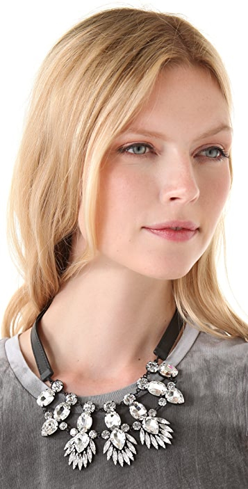 Noir Jewelry Nightfall Leather Bib Necklace