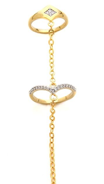 Noir Jewelry Double Ring Hand Chain