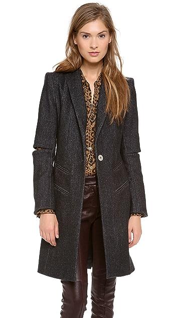 Misha Nonoo Herringbone Slit Sleeve Coat with Patch