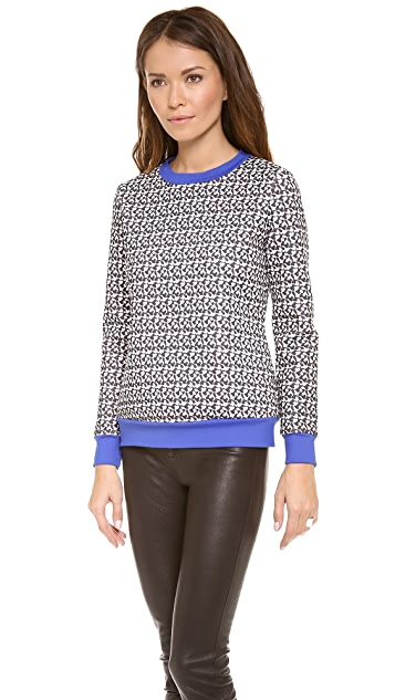 Misha Nonoo Terry Heart Print Neoprene Top