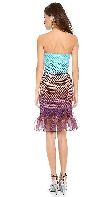Misha Nonoo Lauren Strapless Ruffle Hem Dress