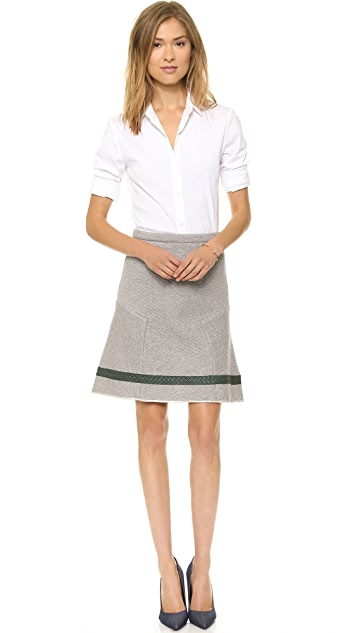 Misha Nonoo Quilted Skirt with Leather Trim