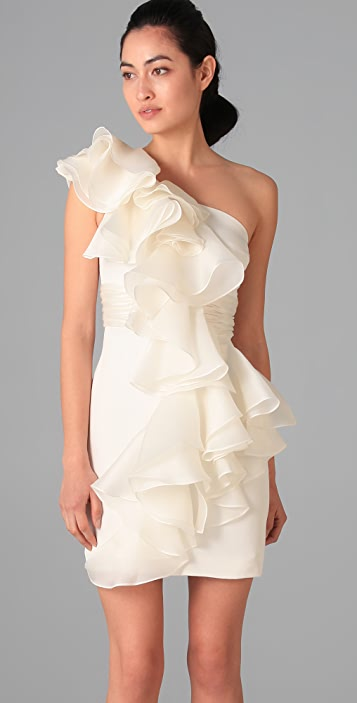 Marchesa Notte One Shoulder Silk Dress with Organza Ruffle