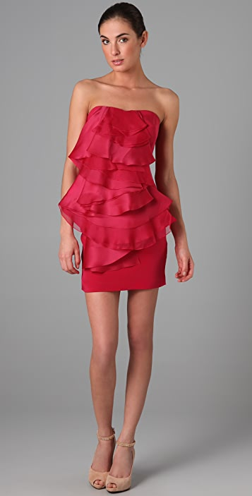 Marchesa Notte Strapless Crepe Dress with Organza Ruffle