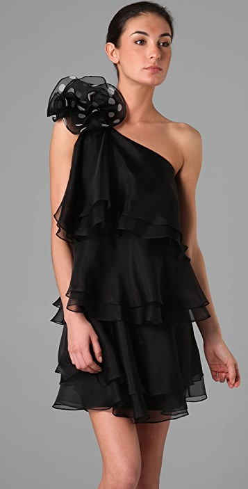 Marchesa Notte Tiered One Shoulder Dress with Flower