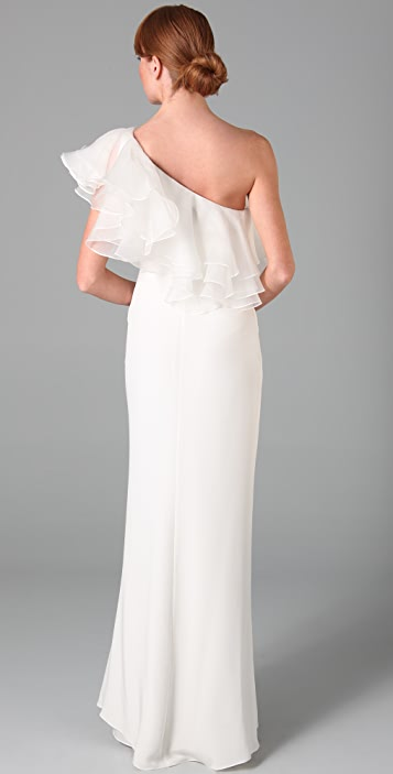 Marchesa Notte One Shoulder Column Gown with Organza Ruffle