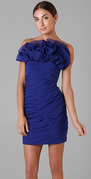 Marchesa Notte Chiffon Dress with Organza Ruffle