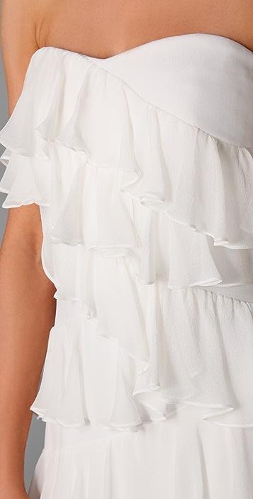 Marchesa Notte Strapless Column Dress with Ruffles