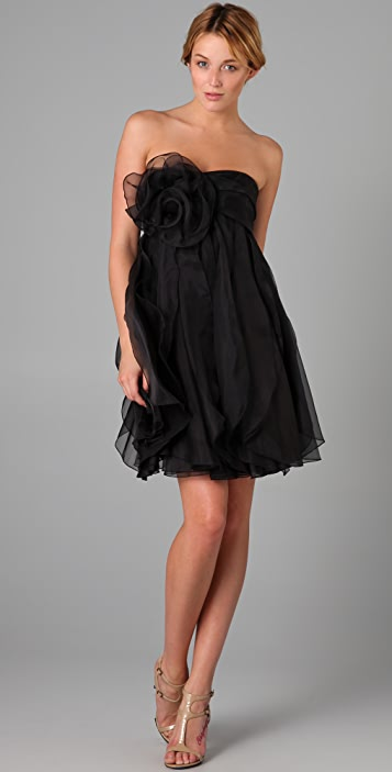 Marchesa Notte Strapless Dress with Organza Ruffle