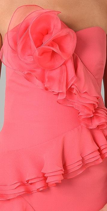 Marchesa Notte Strapless Column Gown with Ruffle Cascade