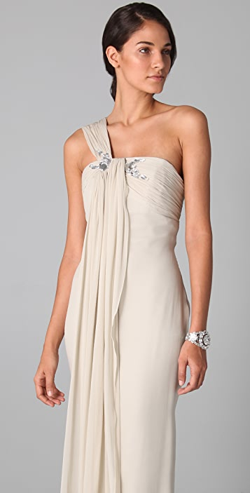 Marchesa Notte One Shoulder Drape Column Gown