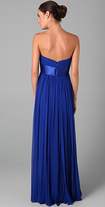 Marchesa Notte Strapless Chiffon Gown with Pleated Bodice