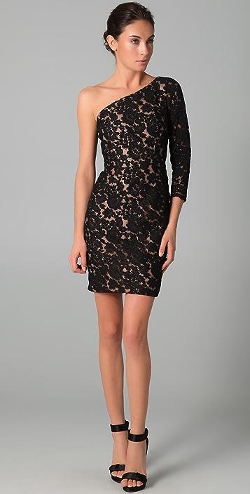 Marchesa Notte One Shoulder Lace Dress