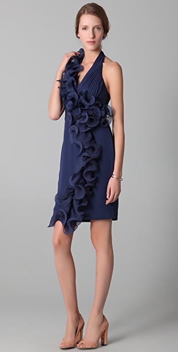 Marchesa Notte Halter Dress with Ruffle