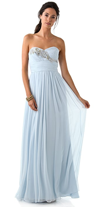 Marchesa Notte Strapless Gown with Embroidered Bodice