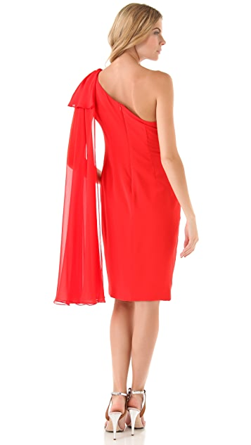 Marchesa Notte One Shoulder Draped Dress