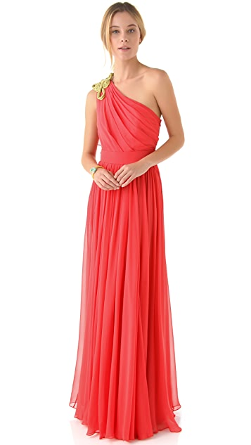 Marchesa Notte One Shoulder Dress with Knotted Cord