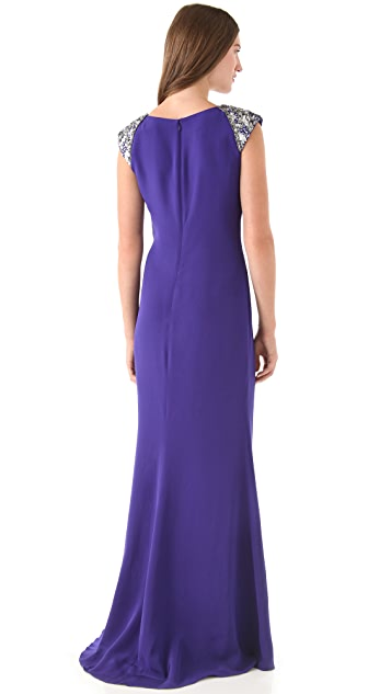 Marchesa Notte Silk Crepe Gown with Beaded Shoulders