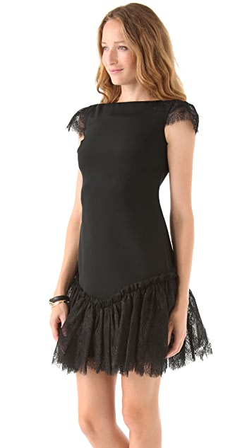 Marchesa Notte Bateau Neck Sheath Dress